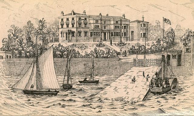 Royal Rock Hotel - litografija, iz knjige H. Gawthrop: The Mersey and the Ferries (1853)