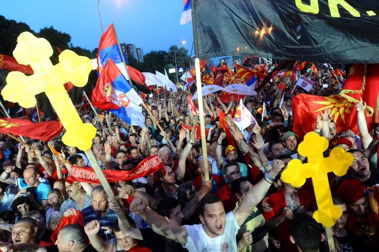 Pristaše vlade premijera Nikole Gruevskog