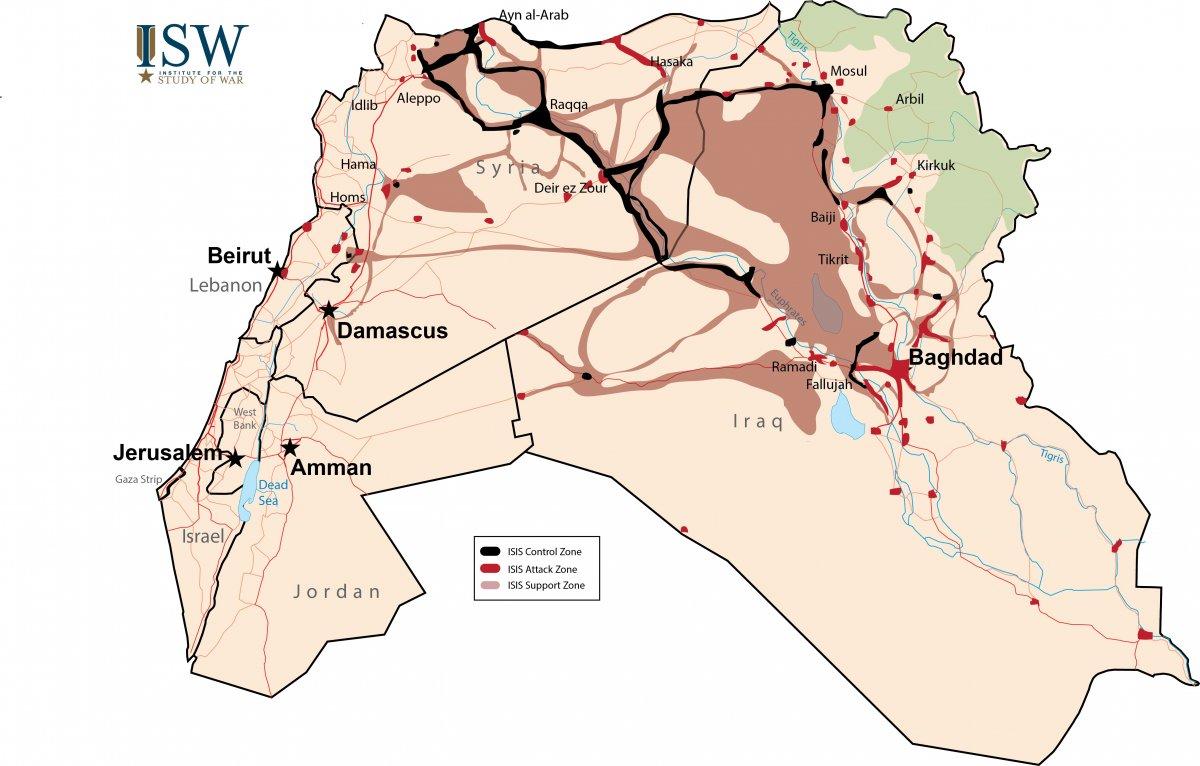 Karta koja pokazuje koliko teritorija zapravo kontrolira ISIS. Crnom bojom je direktna kontrola, crvenom teritoriji koje napadaju i smeđom teritoriji koji ih simpatiziraju