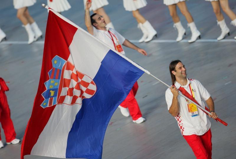08.08.2008., Peking, Kina - Olimpijske igre 2008, ceremonija otvaranja. Hrvatski reprezentativce predvodio je Ivano Balic koji je nosio hrvatsku zastavu. Photo: Zeljko Lukunic/PIXSELL