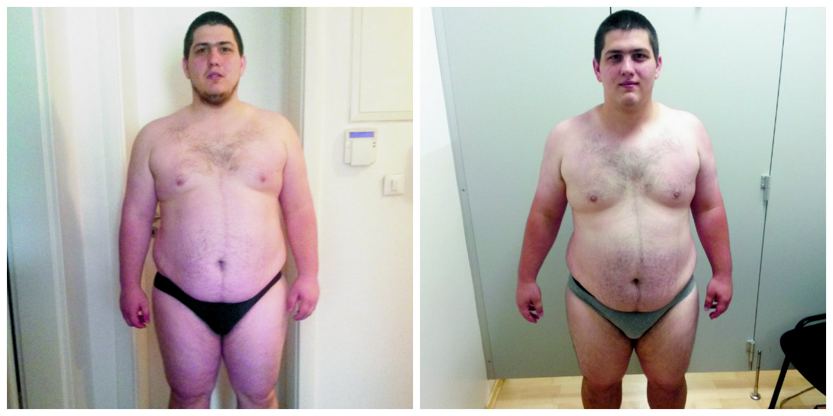Marin na početku programa prije 10 tjedana i danas, sa 13 kila manje