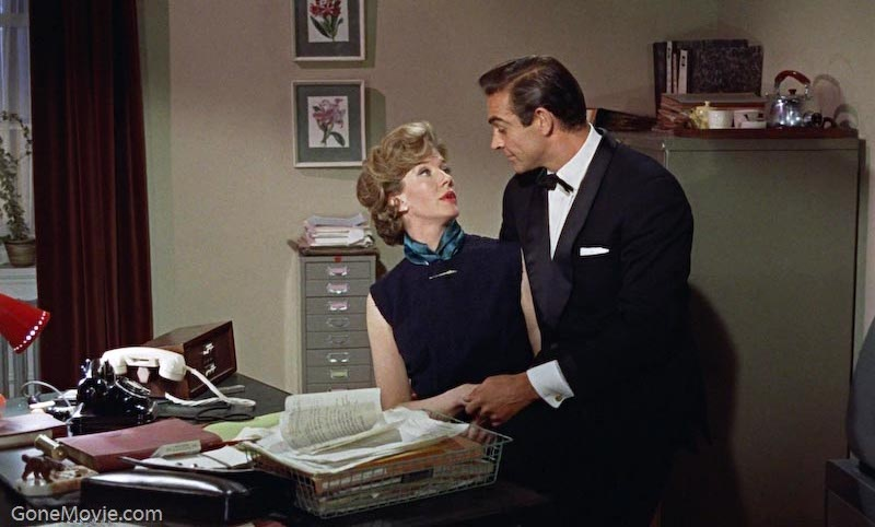 Lois Maxwell (Miss Moneypenny) is the personal secretary to 'M'. Maxwell sat in Moneypenny's chair in 14 Bond films, sparking against the disparate charms of Sean Connery, George Lazenby and Roger Moore.