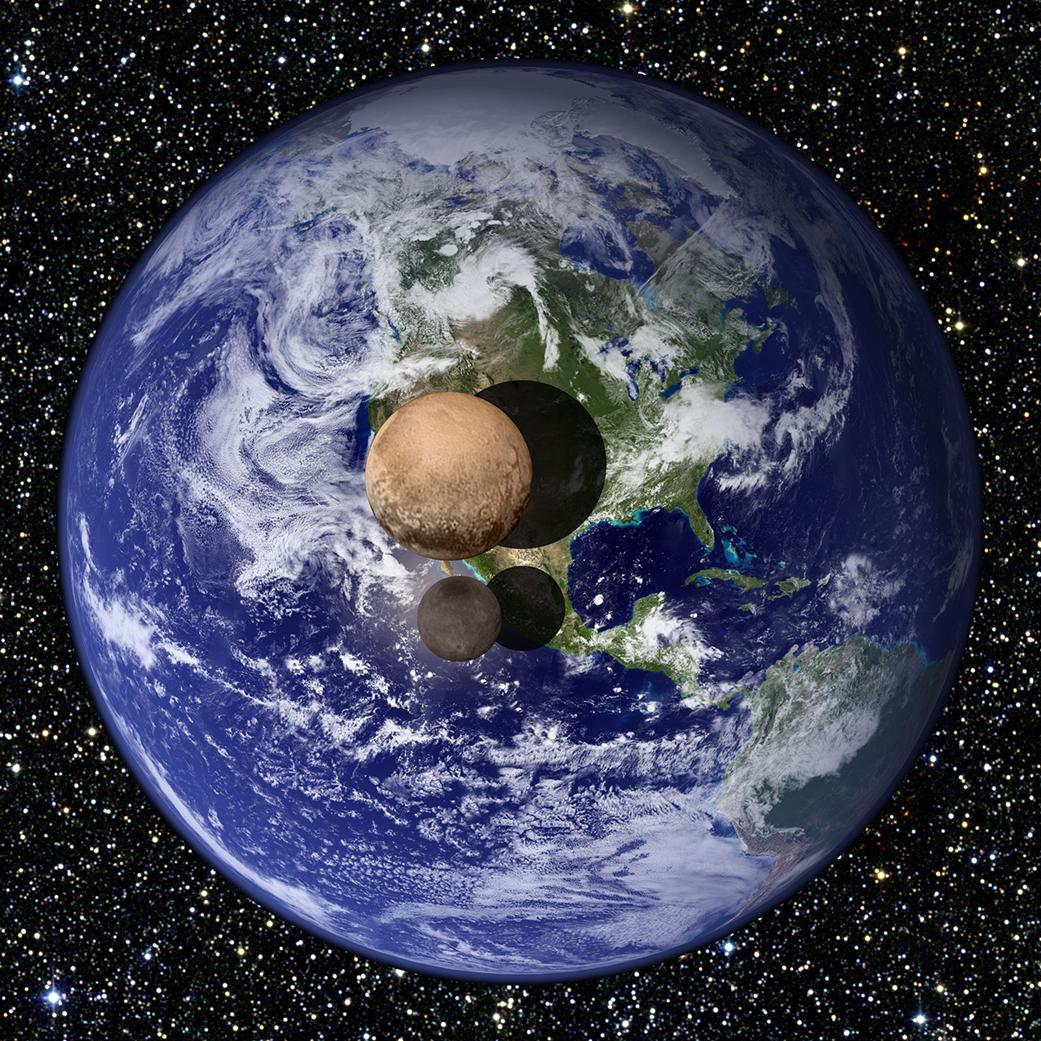 Usporedba veličine Zemlje, Plutona i Harona