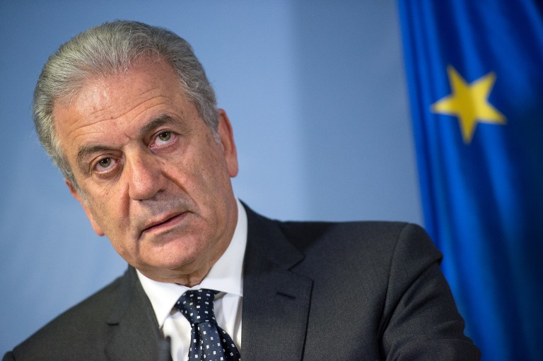 EU Commissioner for Migration, Home Affairs and Citizenship Dimitris Avramopoulos gives a joint press conference with the German Interior Minister (not in picture) on December 2, 2014 at the German Interior Ministry in Berlin. AFP PHOTO / DPA / BERND VON JUTRCZENKA / GERMANY OUT