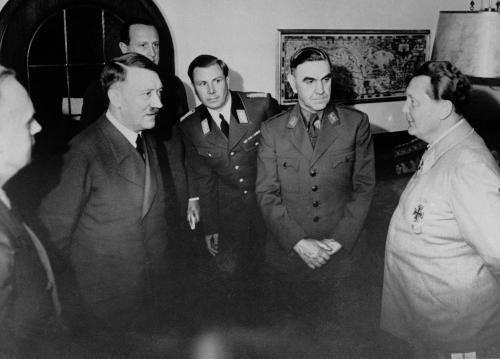 Adolf Hitler (second from left) and Dr. Ante Pavelic (second from right) listen to Hermann Goering (right) at Hilter's mountain residence,the Berghof, on June 6, 1941 in Bavaria. The occasion was Hitler's reception for Pavelic, the newly appointed Croatian Chief of State. (AP Photo/Berlin)