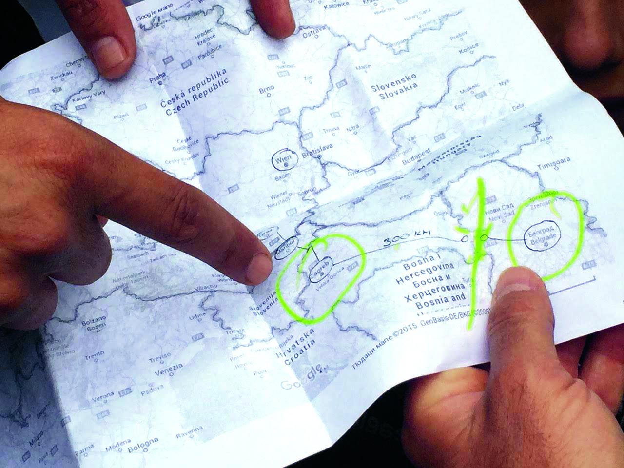 Karta s ucrtanom rutom do zapadne Europe