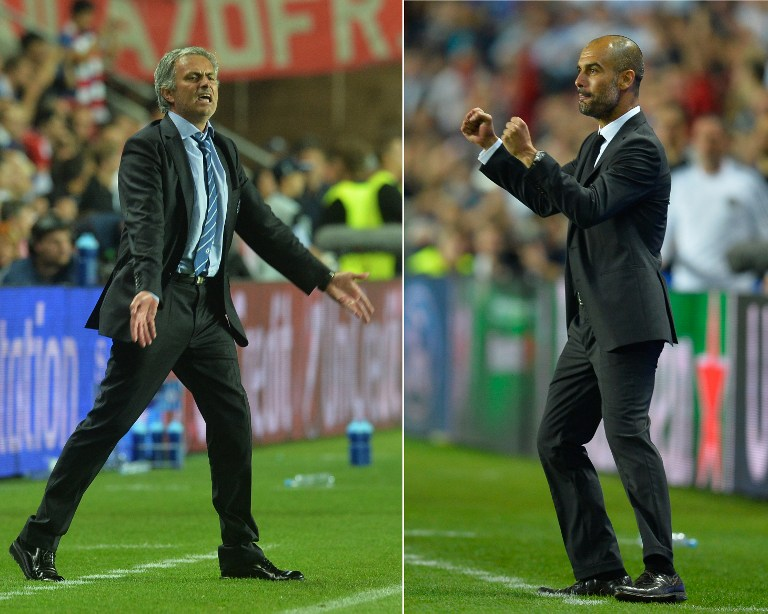 This combo of photos show Chelsea's Portuguese manager Jose Mourinho (L) and Bayern Munich's Spanish head coach Pep Guardiola (R) reacting during the UEFA Super Cup football match FC Bayern Munich vs Chelsea FC on August 30, 2013 at the Eden Stadium, in Prague. AFP PHOTO / MICHAL CIZEK / ODD ANDERSEN / AFP / MICHAL CIZEK/ODD ANDERSEN