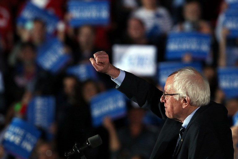 CONCORD, NH - FEBRUARY 09: Sen. Bernie Sanders (D-VT) speaks on stage after declaring victory over Hillary Clinton in the New Hampshire Primary onFebruary 9, 2016 in Concord, New Hampshire. Sanders was projected the winner shortly after the polls closed. Spencer Platt/Getty Images/AFP