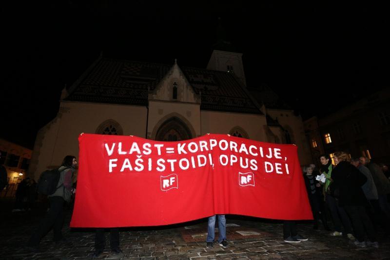 01.02.2016., Zagreb - Na Trgu svetog Marka odrzan je prosvjed izdajnika u organizaciji Radnicke fronte. Photo: Anto Magzan/PIXSELL