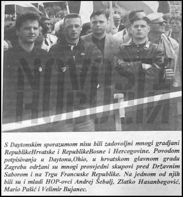 Fotografija objavljena u listu NDH pod kojom je istaknuto kako je Hasanbegović bio član HOP-a