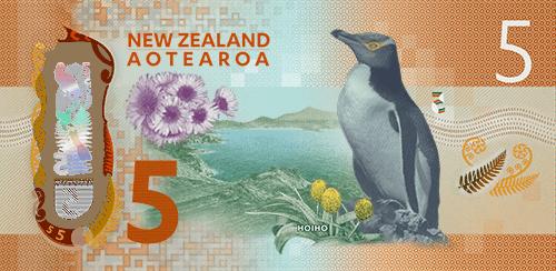 Novozelandskih 5 dolara - kraljevski pingvin