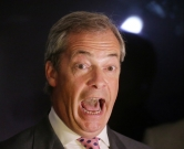 Nigel Farage, chairman of the UK Independence Party (UKIP), reacts to the vote count at a Leave.EU referendum party in London, Britain, 24 June 2016. In a referendum on 23 June, Britons have voted by a narrow margin to leave the European Union (EU). Photo: MICHAEL KAPPELER/dpa