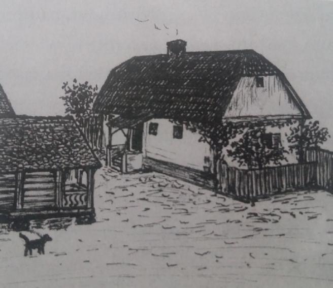 Vitezov crtež rodne kuće u Kosovcu