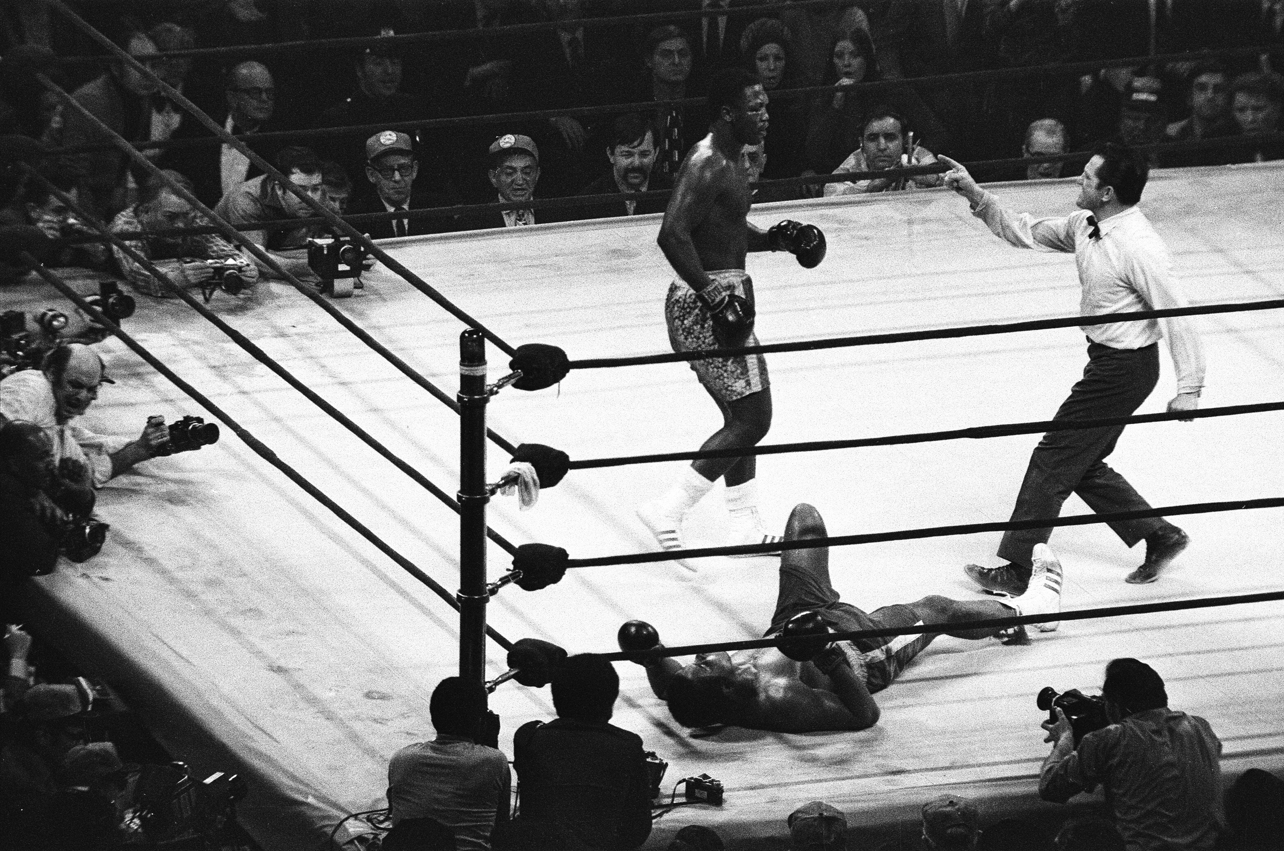 Muhammad Ali seen here after being knock to the canvass during his world title fight against Smokin Joe Frazier at Madison Square Garden 7th March 1971, Image: 106812092, License: Rights-managed, Restrictions: , Model Release: no, Credit line: Profimedia, MirrorPix