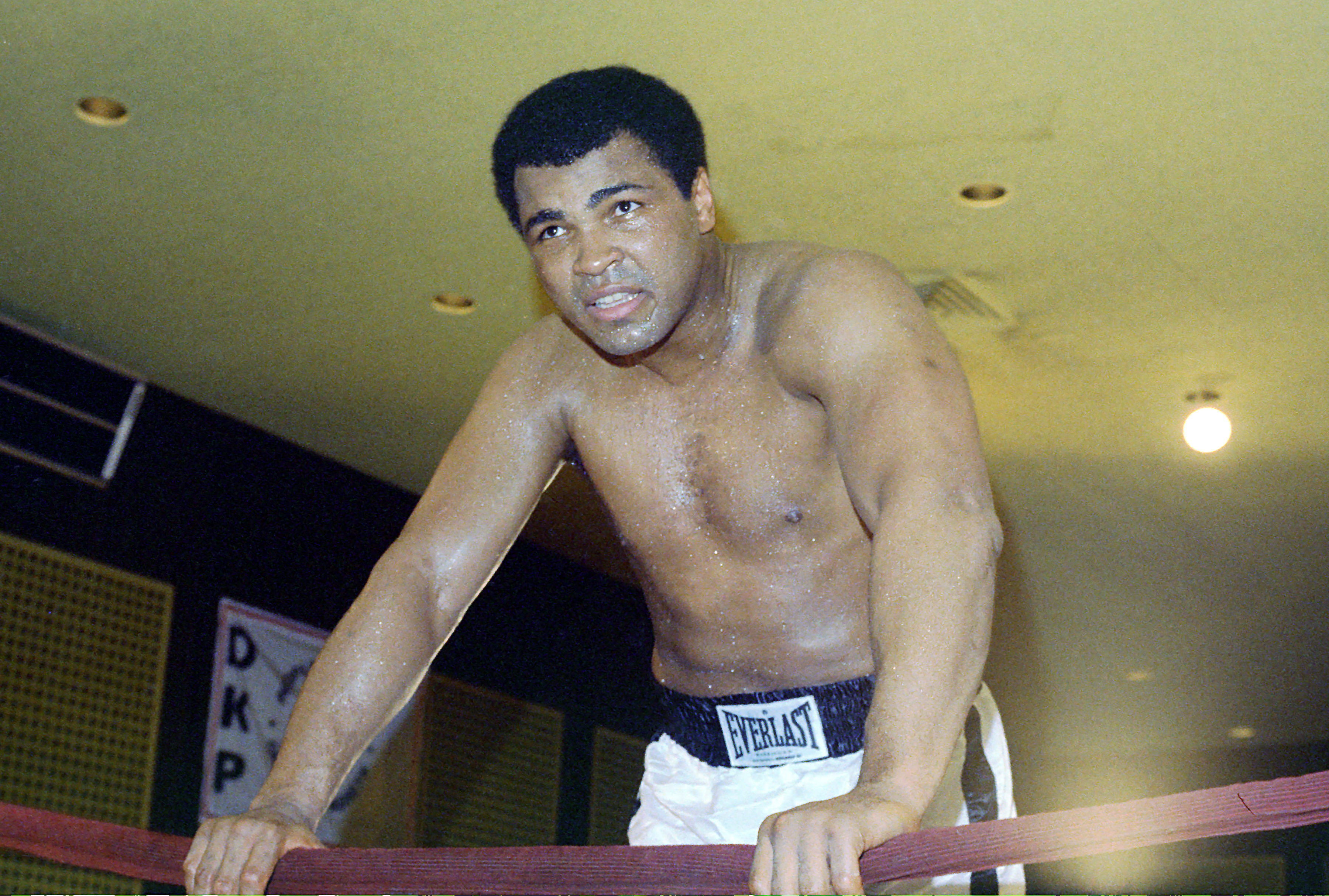 """April 20, 1976 - Arlington, Virginia, United States: Heavyweight Champion Muhammad Ali speaks to the press during a training session for his fight against Jimmy Young. The fight went the full 15 rounds with a controversial one-sided unanimous decision going to Ali. Ali's ever loyal trainer Angelo Dundee went on record as saying this was the champion's """"worst fight."""", Image: 238439933, License: Rights-managed, Restrictions: , Model Release: no, Credit line: Profimedia, Polaris"""