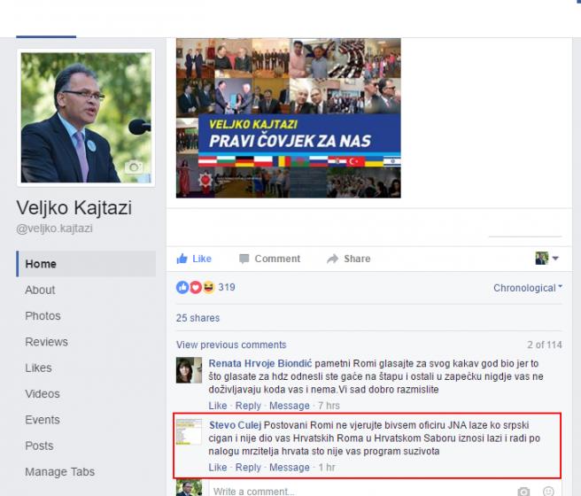 Culejev komentar na Facebooku