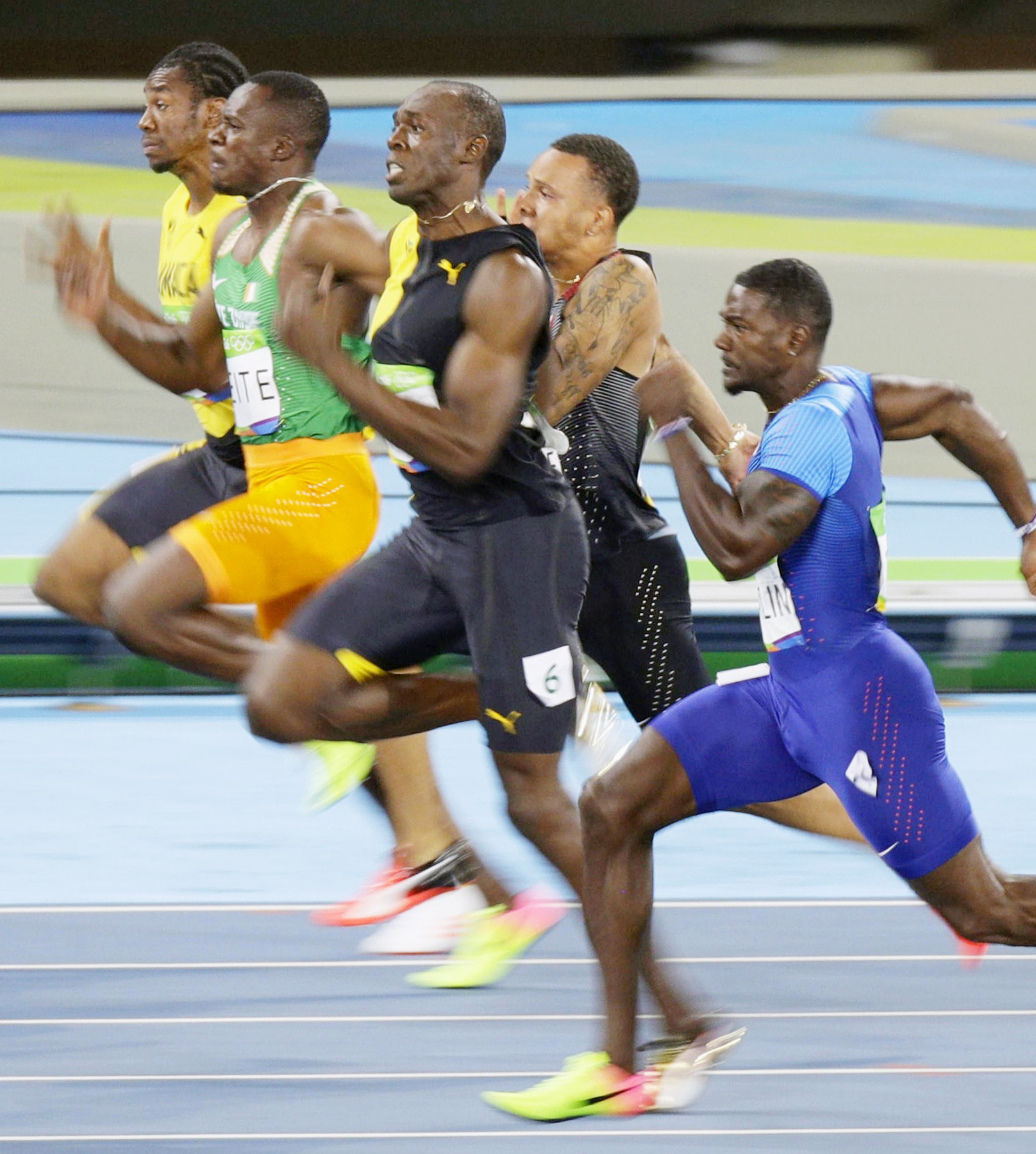 Usain Bolt of Jamaica runs on his way to winning the men's 100-meter final at the Rio de Janeiro Olympics on Aug. 14, 2016, his third consecutive Olympic victory in the event. (Kyodo) ==Kyodo, Image: 296932747, License: Rights-managed, Restrictions: , Model Release: no, Credit line: Profimedia, Newscom