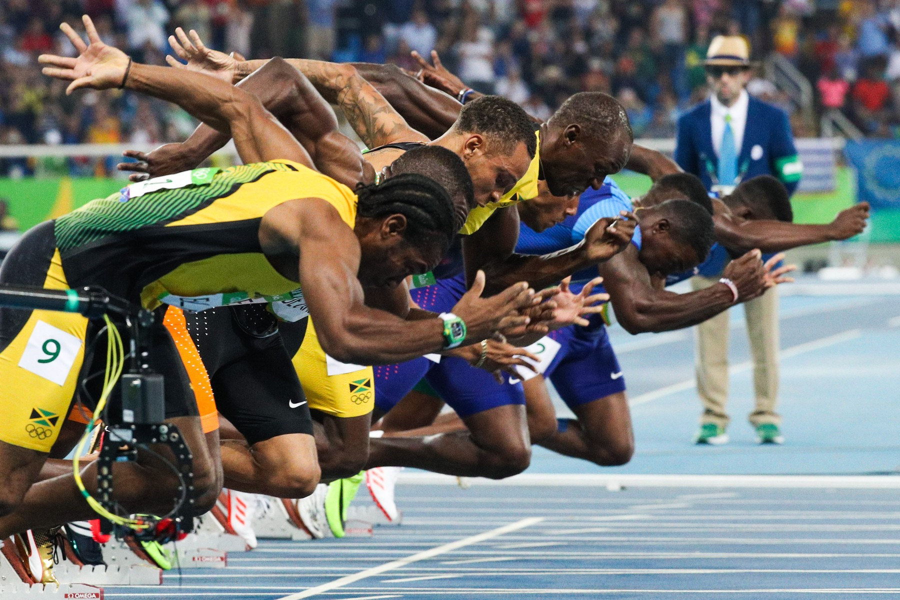 August 14, 2016 - Rio de Janeiro, Brazil: Players compete during the final of men's 100m at the 2016 Rio Olympic Games in Rio de Janeiro, Brazil, on Aug. 14, 2016. Usain Bolt won the gold medal with 9.81., Image: 296937111, License: Rights-managed, Restrictions: No publication in Australia, Belgium, China, France, Poland and Russia, Model Release: no, Credit line: Profimedia, Polaris