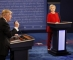 Democratic nominee Hillary Clinton (R) exchanges with Republican nominee Donald Trump (L) during the first presidential debate at Hofstra University in Hempstead, New York on September 26, 2016. Hillary Clinton and Donald Trump face off in one of the most consequential presidential debates in modern US history with up to 100 million viewers set to tune in. / AFP PHOTO / POOL / RICK WILKING