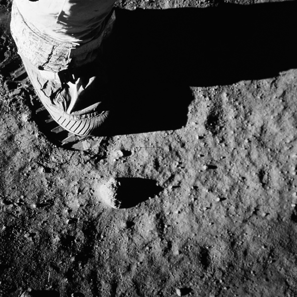 Footprint in the lunar soil