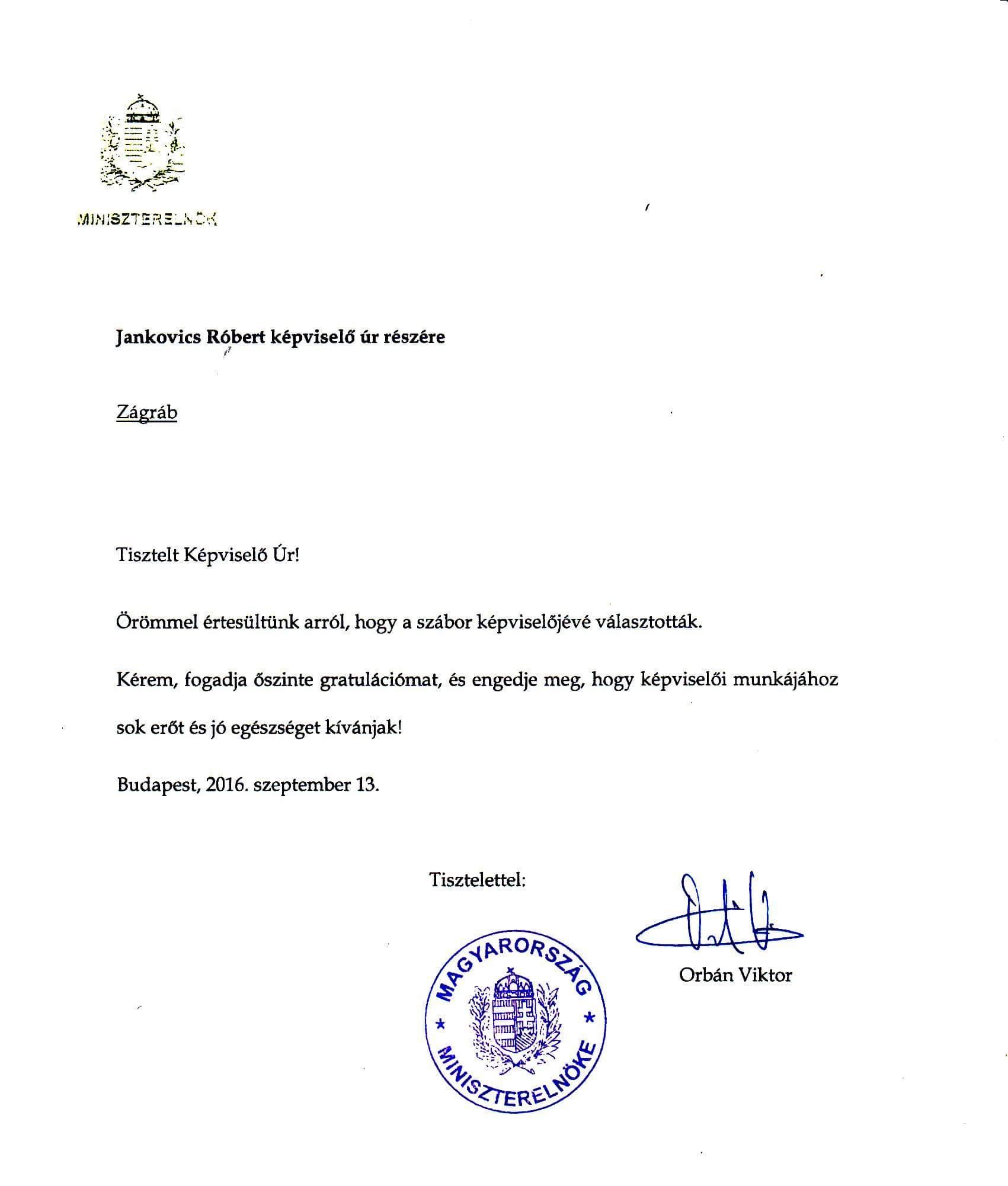 Službena čestitka koju je Orban poslao Jankovicsu nakon što je izabran u Sabor