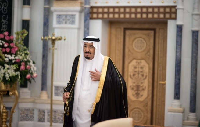 Salman bin Abdulaziz Al Saud, King and Prime Minister of Saudi Arabia, awaits the arrival of German foreign minister Frank-Walter Steinmeier at the royal palace in Riad, Saudi Arabia, 19 October 2015. Photo: Bernd von Jutrczenka/dpa