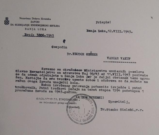 Telegram u kojem Sielski javlja doktoru Grüneru kako mu je život u opasnosti