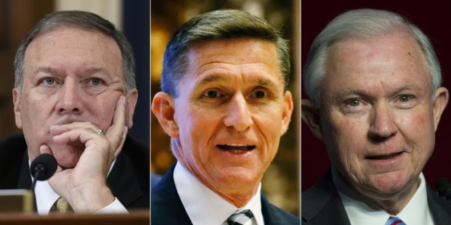 (COMBO) This combination of pictures created on November 18, 2016 shows (L to R) US Representative from Kansas Mike Pompeo, Retired Lt. Gen. Michael Flynn and Senator Jeff Sessions. President-elect Donald Trump has chosen Jeff Sessions to be attorney general, Mike Pompeo has been selected to be CIA director, and the influential post of national security adviser to his controversial campaign adviser, former general Michael Flynn, US media reported on November 18, 2016. / AFP PHOTO / STF