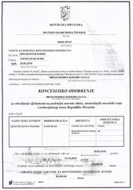 Koncesijsko odobrenje za 2016. godinu