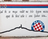 Graffiti on a wall in Primosten, celebrating the 100th anniversary of Hajduk Split footbal team. Hajduk, is a Croatian football club founded in 1911 and based in the city of Split., Image: 106530586, License: Rights-managed, Restrictions: , Model Release: no, Credit line: Profimedia, Alamy
