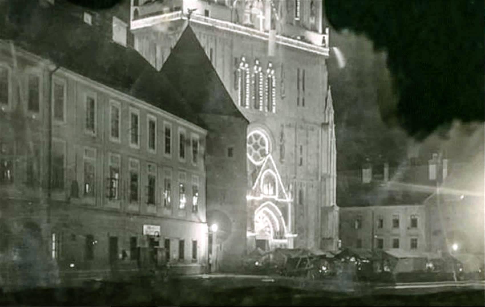 Katedrala, okićena za Božić 1930. godine
