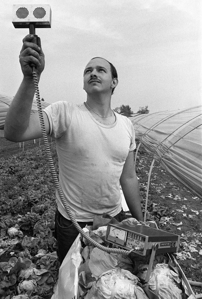 Drugi poljoprivrednik, u udaljenom Strasbourgu, mjeri radioaktivnost zraka Geigerovim mjeračem. Poljoprivrednici diljem svijeta tada su imali čestu praksu provjeravanja radioaktivnosti uzgojene hrane.