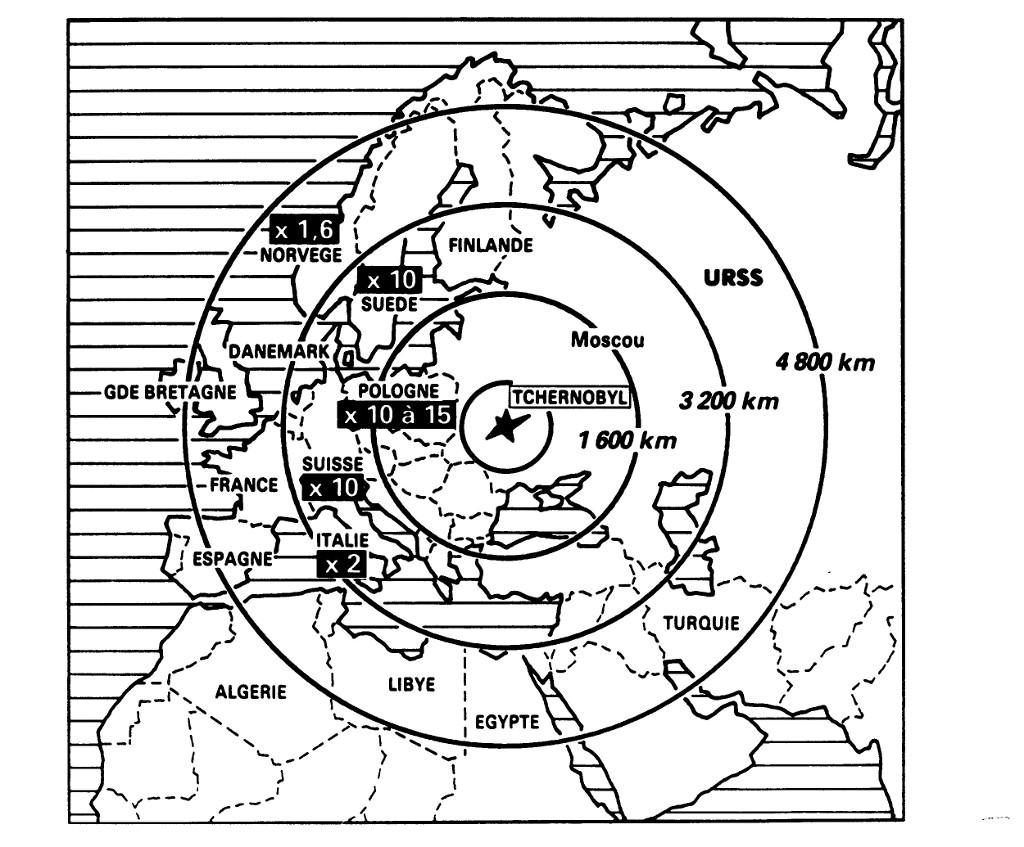 Karta u kojoj su prikazani radijusi radijacije koju je francuska televizija emitirala u svojim izvještajima.
