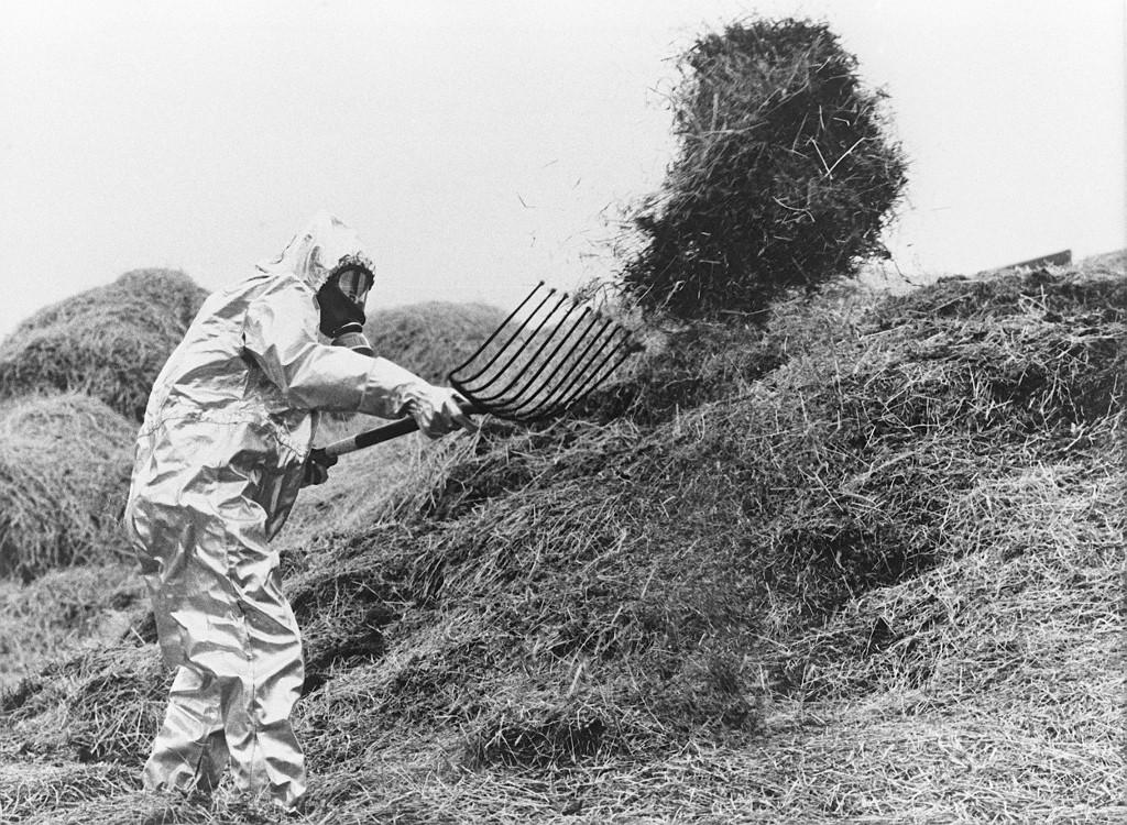 Poljoprivrednik u antiradijacijskom odijelu, snimljen u lipnju 1986. godine, kako baca radioaktivnu hranu.