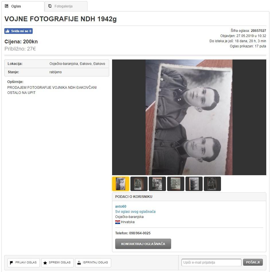 Čovjek, dakle, ne cijeni samo ulja na platnu, tu su i fotografije s vojnicima iz NDH.