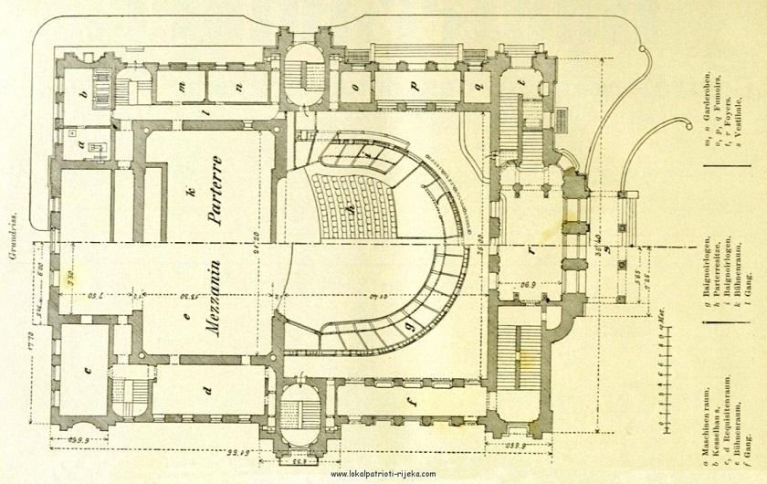 Prije HNK postojao je Teatar Adamić koji se nalazio u Bačvarskoj ulici. No, nije zadovoljavao sigurnosne uvjete pa je srušen, a napravljen je novi projekt za velebno zdanje na tadašnjem trgu Ürmeny. Ovo je tlocrt s kraja 19. stoljeća.