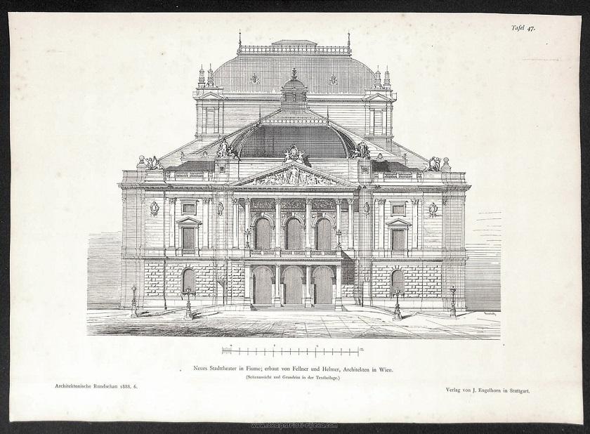 Projekt je naručen u Beču, u specijaliziranom ateljeu za kazališta, kod arhitekata Hermana Gottlieba Helmera i Ferdinanda Fellnera.