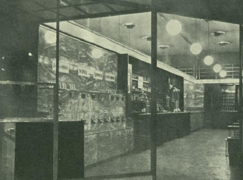 Prvi automatski buffet u prizemlju kuće Job na adresi Ilica 17. Snimljeno 1930-ih godina.