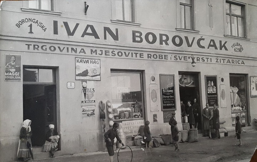 Trgovina mješovite robe Ivan Borovčak na adresi Borongajska 1. Snimljeno između 1925. i 1930. godine.