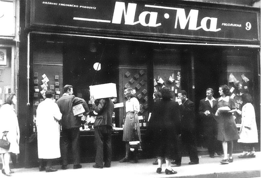 Dućan Na-Ma 1946. godine u Nikolićevoj ulici. Danas je to ulica Nikole Tesle.