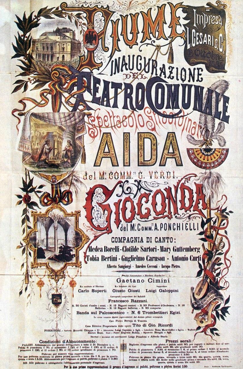 Plakat za svečano otvorenje 1885. godine.