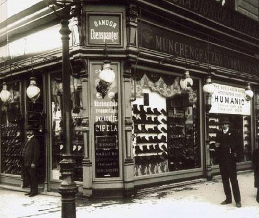 Trgovina cipelama Šandor Ebenspanger u Ilici ranih dvadesetih.