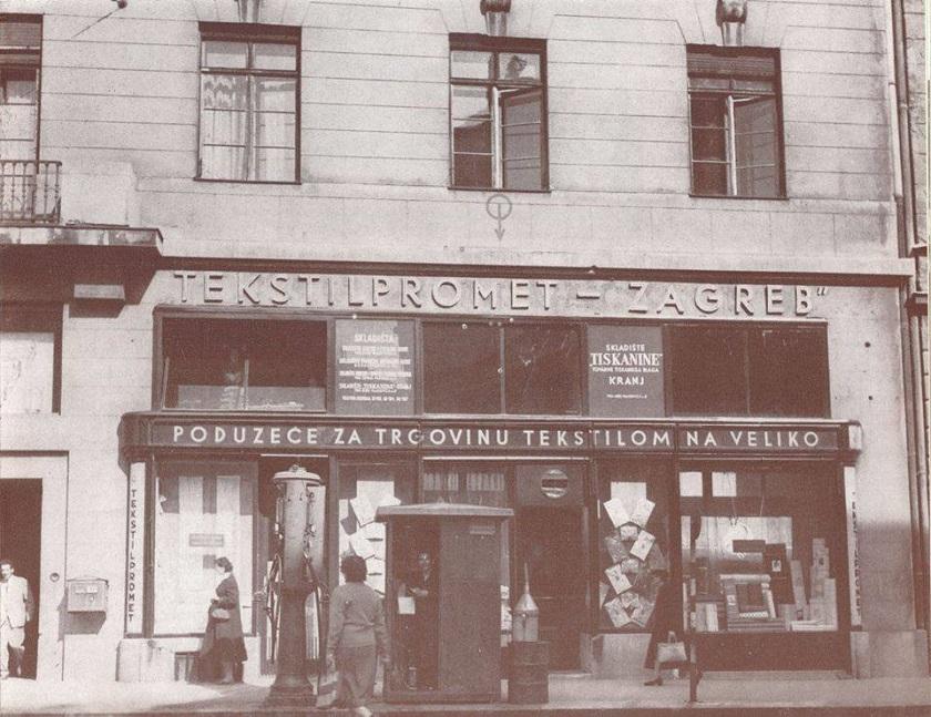 Benzinska pumpa i trgovina Tekstilpromet u Martićevoj 1952. godine.