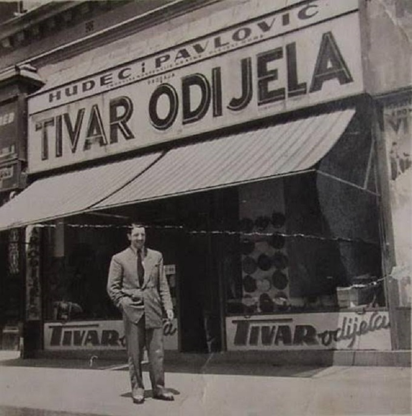 Tivar odijela (nakon 1945. Varteks) na Trgu bana Jelačića četrdesetih godina.