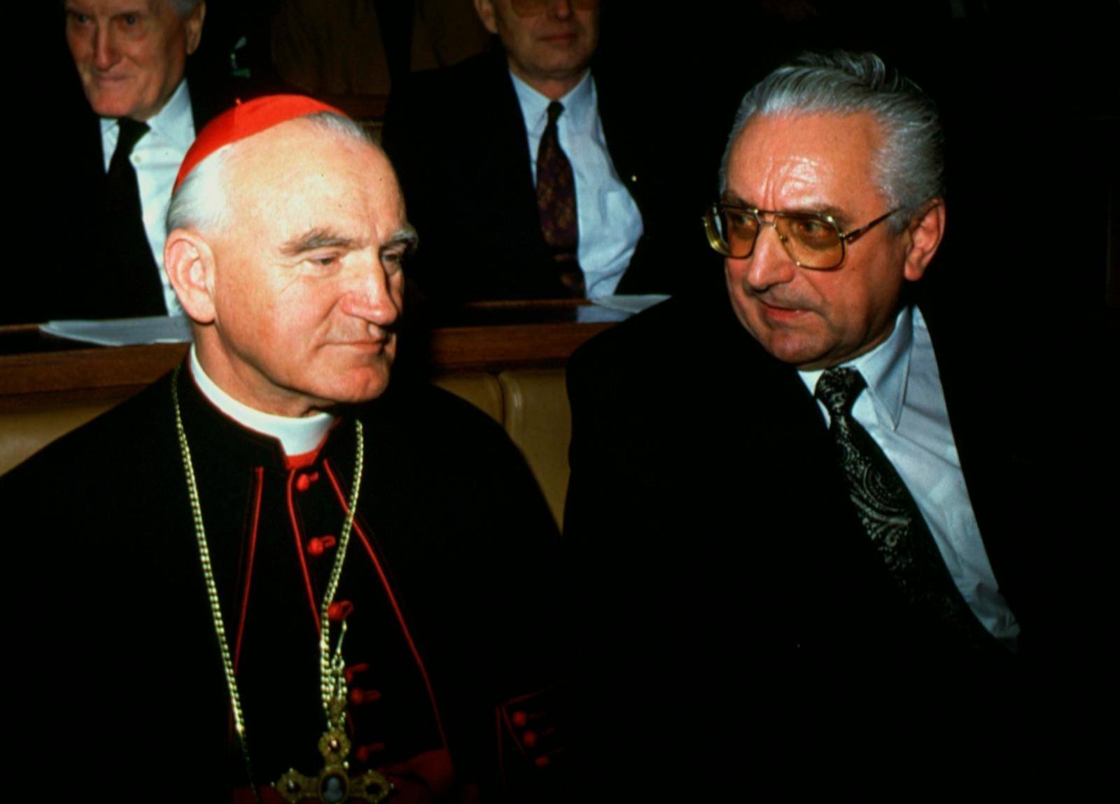 30.05.1990., Zagreb - Prvi hrvatski predsjednik dr. Franjo Tudjman i kardinal Franjo Kuharic za prvog zasjedanja Sabora RH 1990. godine. Photo: Nikola Solic//HaloPix/PIXSELL